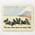 Labradores retrieveres en la playa Mousepad Tapete De Raton