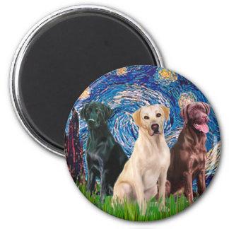 Labradors (3) - Noche estrellada Imán Redondo 5 Cm