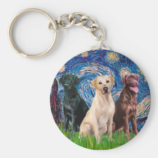 Labradors (3) - Starry Night Key Chain