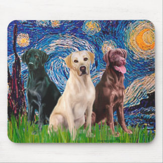 Labradors (3) - Starry Night Mouse Pad