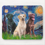 Labradors (3) - Starry Night Mouse Pads