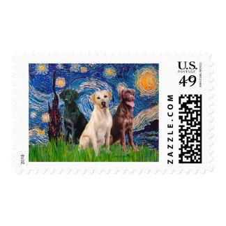 Labradors (3) - Starry Night Postage Stamp