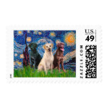 Labradors (3) - Starry Night Postage Stamps