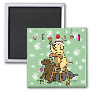 Labradors and Christmas Ornaments Cartoon 2 Inch Square Magnet