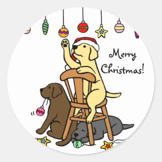 Labradors and Christmas Ornaments Cartoon Classic Round Sticker