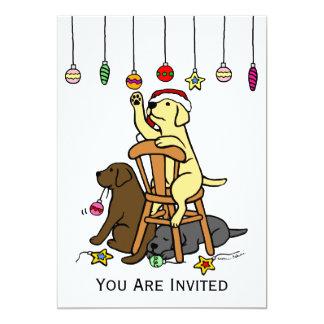 Labradors and Christmas Ornaments Cartoon Custom Invitations