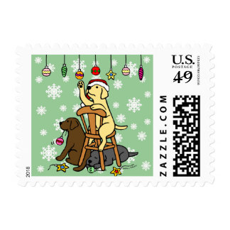 Labradors and Christmas Ornaments Cartoon Stamps