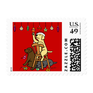 Labradors and Christmas Ornaments Cartoon Stamp