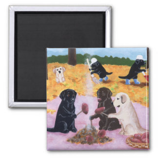 Labradors Autumn Fun Fridge Magnet