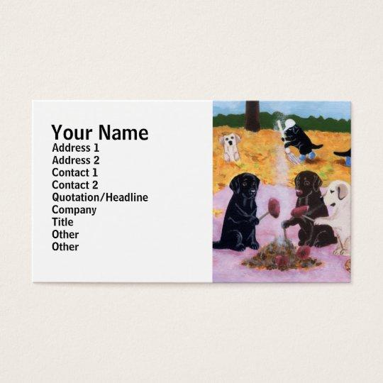 Labradors Autumn Fun Painting Business Card