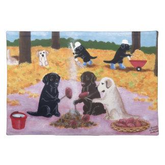 Labradors Autumn Fun Painting Placemat