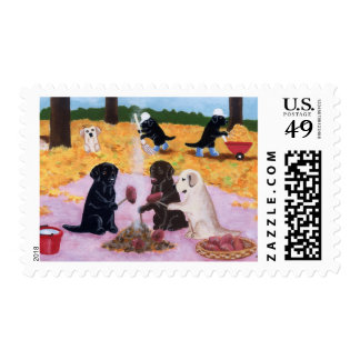 Labradors Autumn Fun Postage