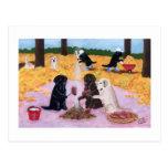 Labradors Autumn Fun Postcard