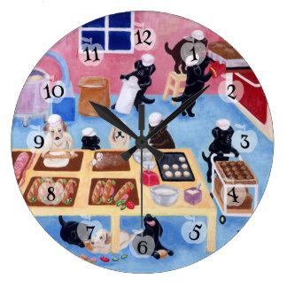 Labradors Bakery Painting Large Clock