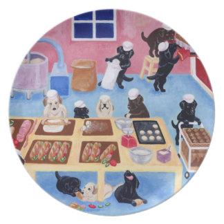 Labradors Bakery Painting Melamine Plate