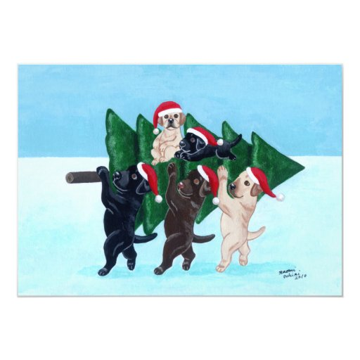 "Labradors Christmas Party Invitations 5"" X 7"" Invitation Card"