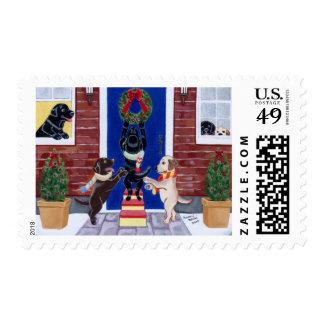 Labradors Christmas Postage Stamp