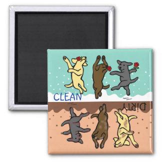 Labradors de baile feliz limpio/sucio imán cuadrado