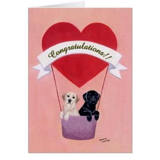 Labradors divertido para casarse tarjeta de felicitación