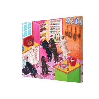 Labradors en la lona de pintura de la cocina impresión en lienzo