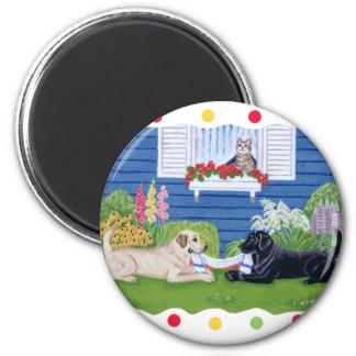 Labradors en la pintura del jardín imán redondo 5 cm