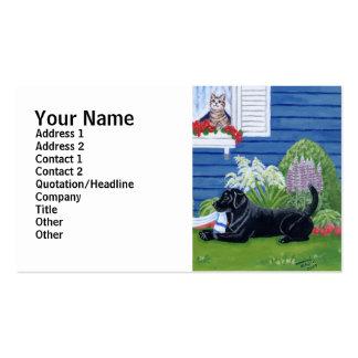 Labradors en la pintura del jardín tarjetas de visita