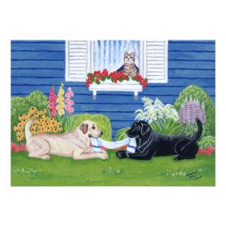 Labradors en las invitaciones de la fiesta de jard invitaciones personales