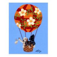 Labradors & Hot Air Balloon Painting Post Card