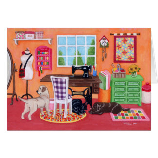 Labradors in Mom's Sewing Room Card