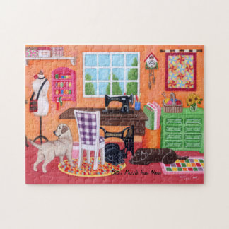 Labradors in Mom's Sewing Room Jigsaw Puzzle