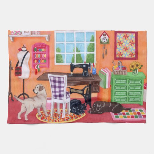 Labradors in Mom's Sewing Room Painting Hand Towel