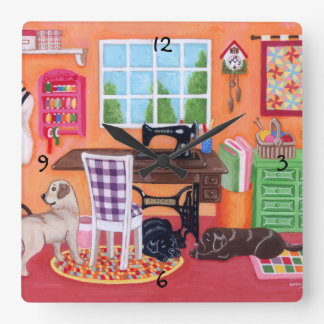 Labradors in Mom's Sewing Room Painting Square Wall Clock