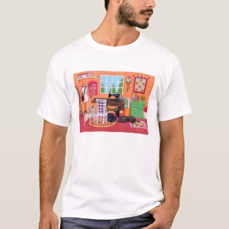 Labradors in Mom's Sewing Room Painting T-Shirt
