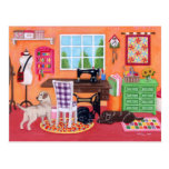 Labradors in Mom's Sewing Room Postcard
