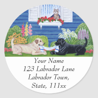 Labradors in the Garden Address Label