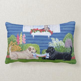 Labradors in the garden Painting Lumbar Pillow