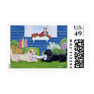 Labradors in the Garden Painting Postage Stamp