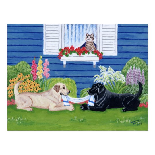 Labradors in the Garden Painting Postcard