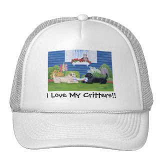 Labradors in the Garden Painting Trucker Hat