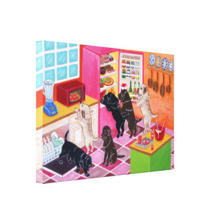 Labradors in the KItchen Painting Canvas