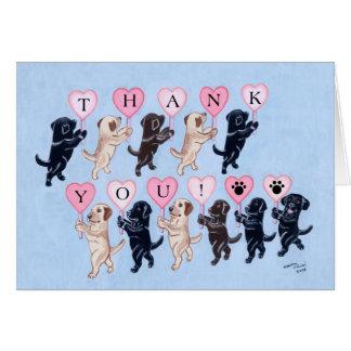 Labradors que marcha feliz le agradece tarjeta de felicitación