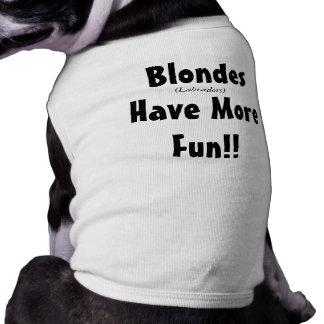¡Labradors rubio se divierte más! Camisa del perri Playera Sin Mangas Para Perro