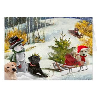 Labradors tarjetas Sledding del día de la diversió