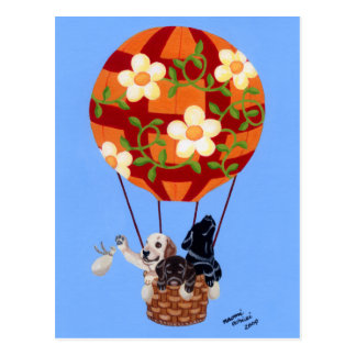 Labradors y pintura del globo del aire caliente