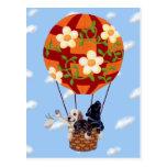 Labradors y pintura del globo del aire caliente postal