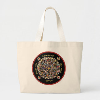 "Labrynth-""Love is at the Heart of All Things Real"" Large Tote Bag"