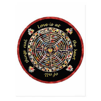 """Labrynth-""""Love is at the Heart of All Things Real"""" Postcard"""