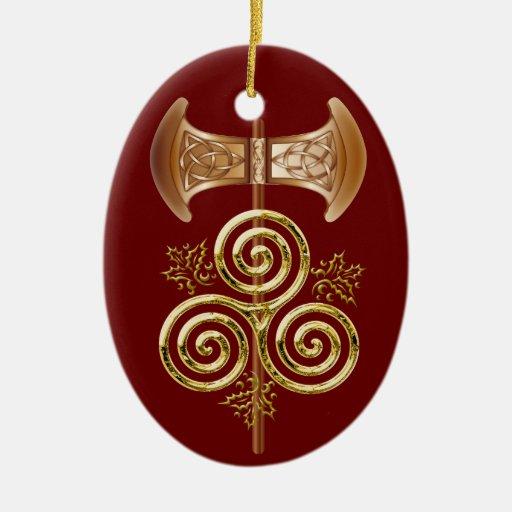 Labrys, espiral triple, y acebo - ornamento 1RedB Ornamentos De Reyes Magos