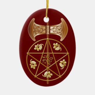 Labrys, Pentagram, y acebo - ornamento 2RedB Adorno Navideño Ovalado De Cerámica