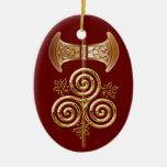Labrys, Triple Spiral, & Holly - 1RedB Ornament